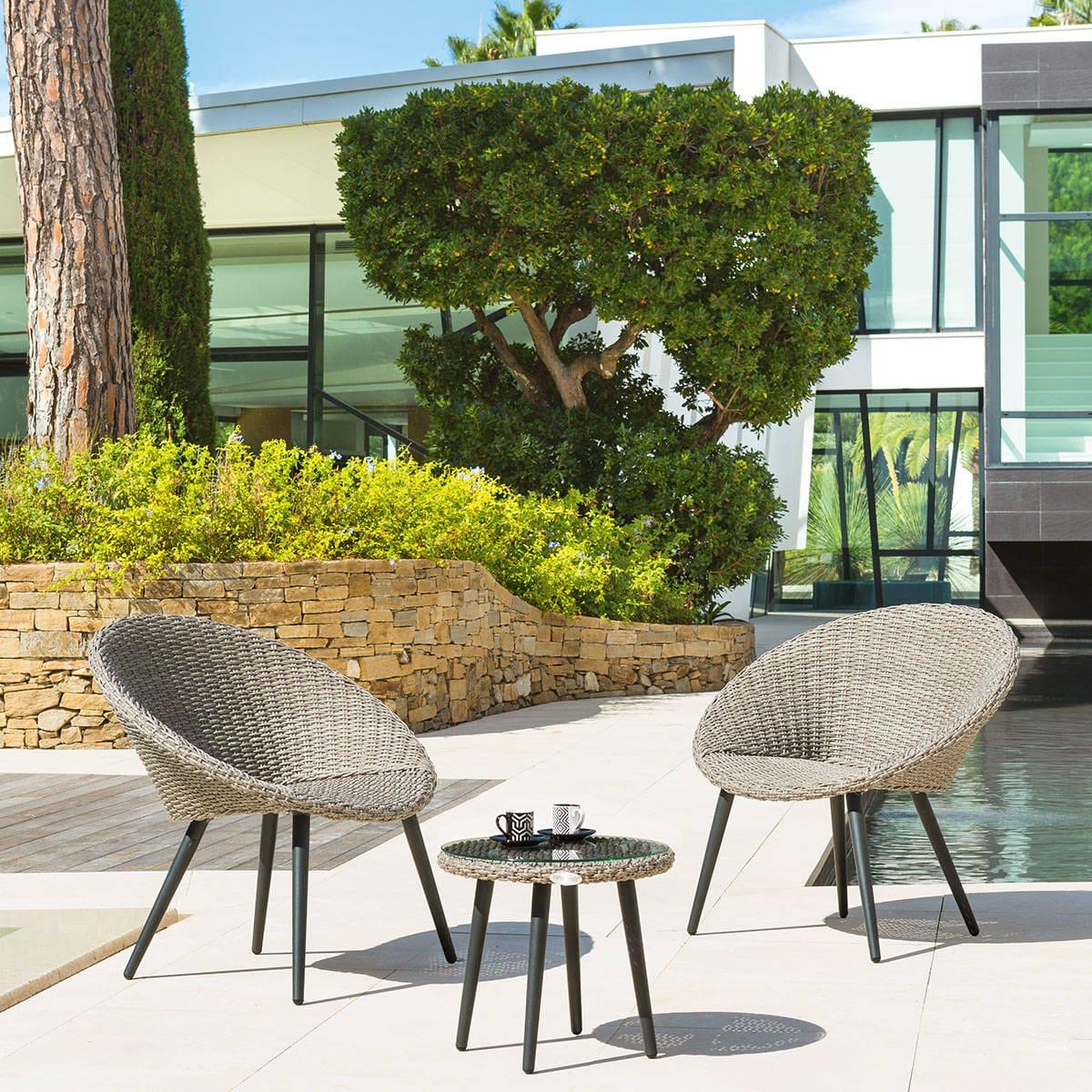 Salon de jardin Duo Canberra Sépia Hespéride 2 places