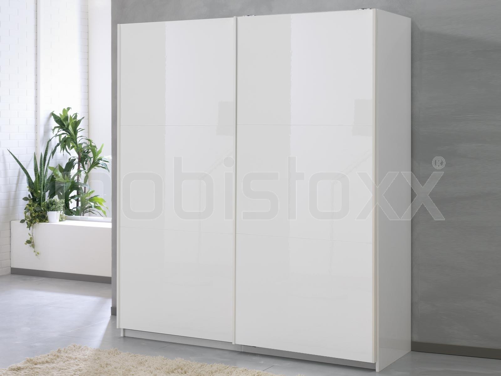 97913ca0c25e5 Armoire SALSA blanc laqué 2 portes coulissantes 180 cm portes blanc ...