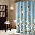 Rideau de salle de bain bleu «fleurs de coton» – Le Marché du Rideau