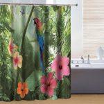 Rideau de douche en polyester style nature couleur vert et rouge …