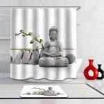 Rideau de douche et tapis zen «Bouddha en pierre» – Le Marché du Rideau