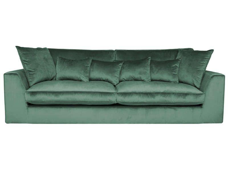 taille 40 0e73f 14c6a Canapé fixe 3 places FEEL GOOD en velours coloris vert pas ...