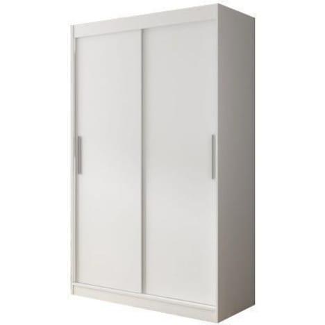 Armoire Contemporaine A 2 Portes Coulissantes 120 Cm Coloris Blanc