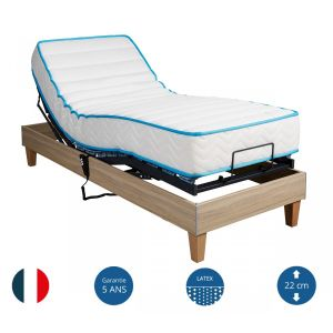Annonce chez Capitaine Matelas. Ensemble relaxation latex 90 sommier TPR 50  chêne clair 2x90x200 - Someo
