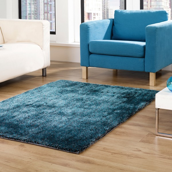 Tapis Design Shaggy Vista Bleu Canard Par Flair Rugs