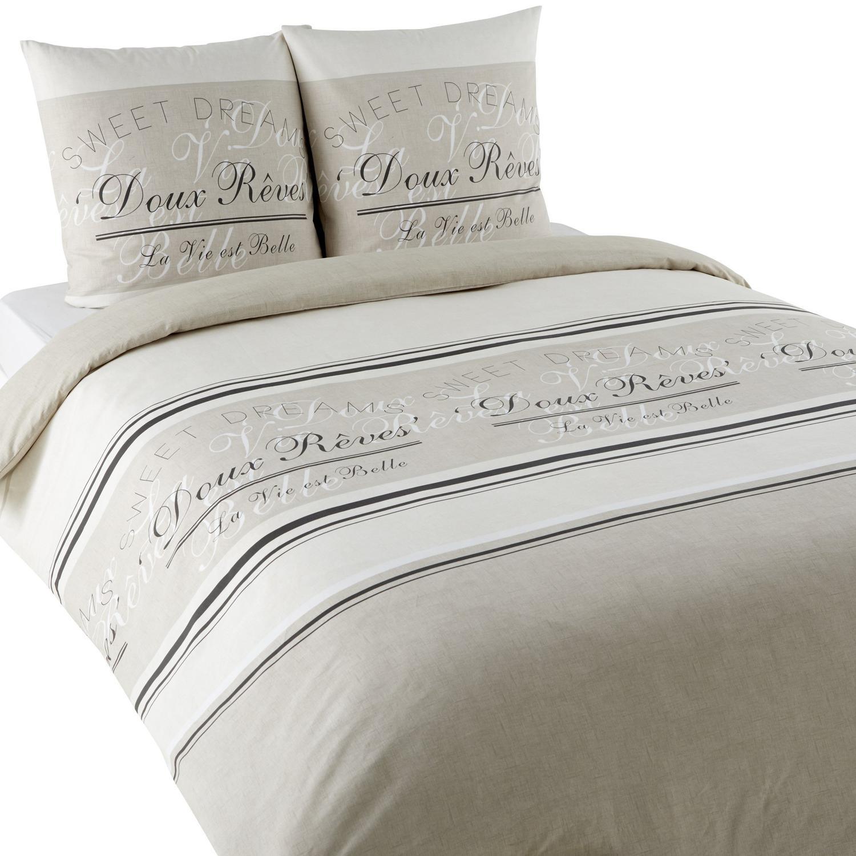 Housse De Couette Noir Blanc Gris parure de lit doux reves housse de couette + 2 taies d