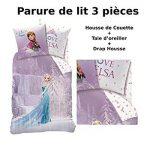 REINE DES NEIGES - Parure de lit (3pcs) - Housse de Couette (140x200) + Taie  d'Oreiller (63x63) + Drap housse (90x190) - 100% Coton - Imprimé Cascade:  ...