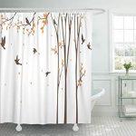 Emvency Rideau de douche en tissu Rideaux avec crochets Vert Fleur …
