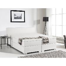 Annonce · Lit boxspring en similicuir - sommier et matelas à ressorts -  blanc - 160x200 cm President