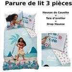 VAIANA - Parure de lit (3pcs) - 100% Coton - Housse de Couette (140x200) +  Taie d'Oreiller (63x63) + Drap housse (90x190) - Moana