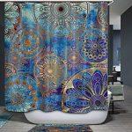 Qcwn Bleu Violet Mandala Rideau de douche Arbre de vie avec Floral …