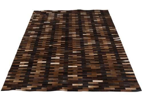 Tapis chalet patchwork en cuir marron et noir