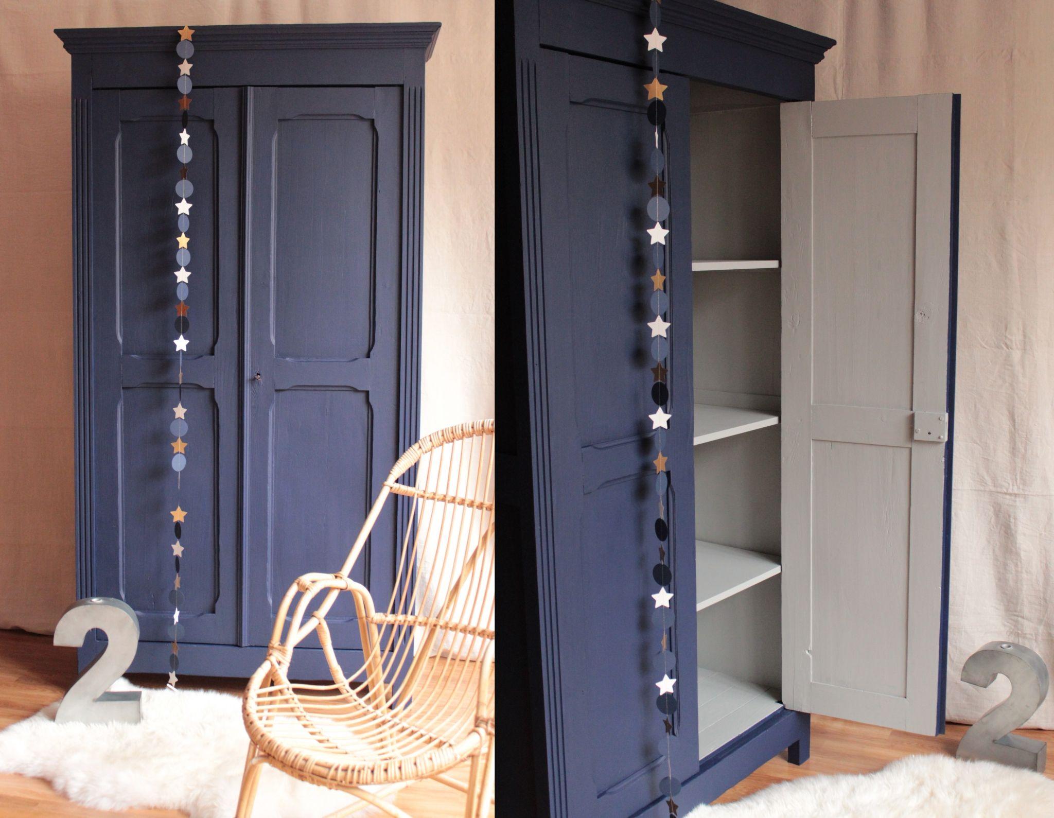 armoire parisienne penderie chambre enfant bleu nuit gris ...