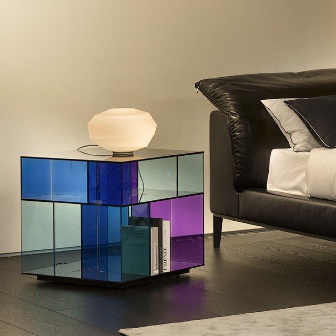 Table de chevet contemporaine / en verre / rectangulaire ...