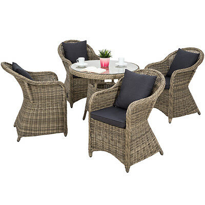ALUMINIUM SALON DE jardin 4x chaise 1x table résine tressée ...
