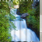 Campagne Cascade Paysage rideau de douche pour salle de bain en Vert …