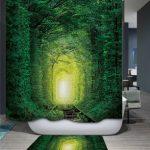 Pas Cher En Gros Vert Bois Polyester 3d Rideau De Douche Pour La …