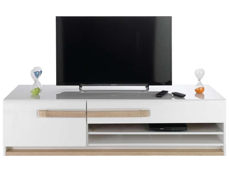 Banc TV 160,1 cm finition laqué LEVI – Vente de Meuble tv – Conforama