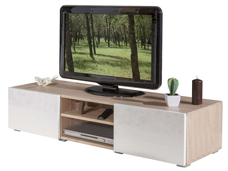 Ateca Tv Meubel.Meuble Tv 2 Niches 2 Tiroirs Elios Coloris Chene Naturel Blanc 1