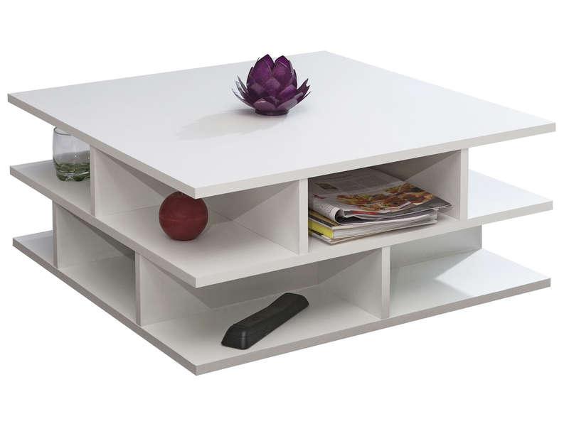 Table Basse Carree 70 Cm Multi Coloris Blanc Chez Conforama