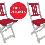 Lot de 2 chaises pliantes de jardin TRINIDAD coloris rouge – Vente …