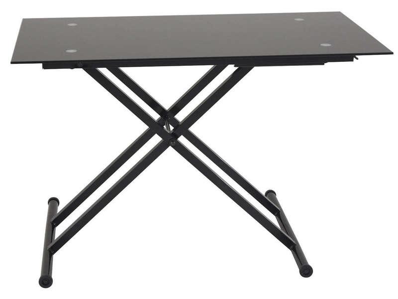 Table Basse Relevable En Verre Lift Coloris Noir Chez Conforama