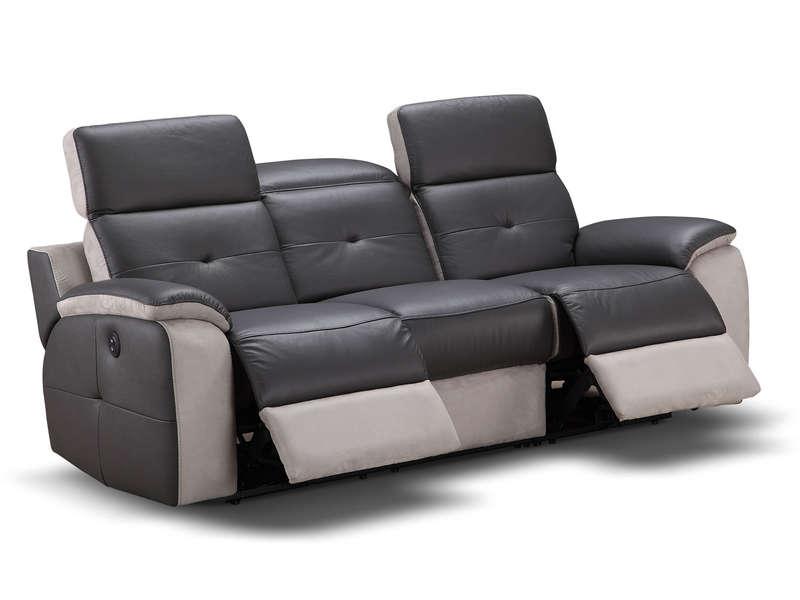 nouveau concept be6eb bbddf Canapé fixe relaxation électrique 3 places en tissu ORLANDO ...