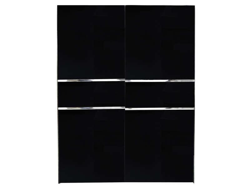 Armoire 2 Portes Coulissantes Glass Coloris Noir Vente De