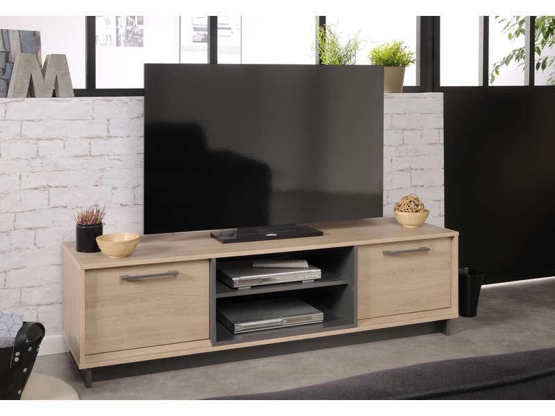 Meuble Tv 2 Portes 1 Tablette Feel Coloris Chene Brooklyn