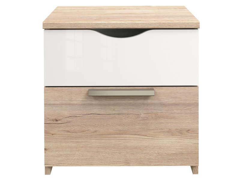 2 TEMPO coloris blanc POP relief Chevet tiroirs et chêne xBdCeor