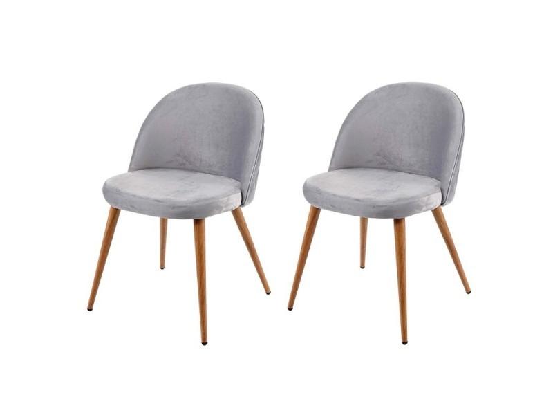 Lot de 2 chaises de salle à manger tissu velours gris clair ...