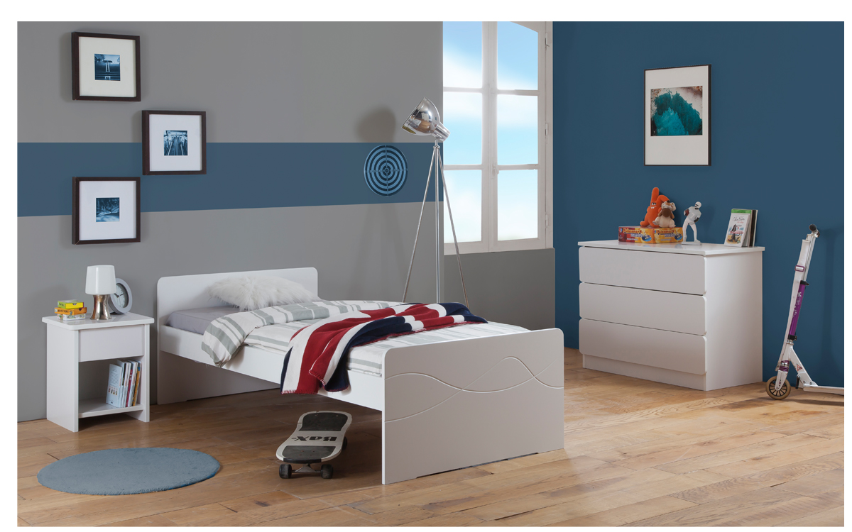 Chambre Enfant Ado Tahiti Lit 90x190 Couleur Blanc Table