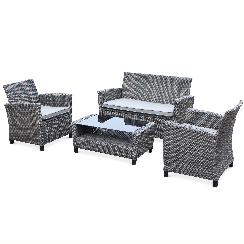 Salon de jardin: canapé 2 places + 2 fauteuils + table basse ...