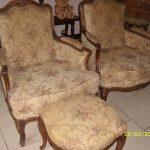 Canapé + 2 fauteuils et 2 poufs louis xv