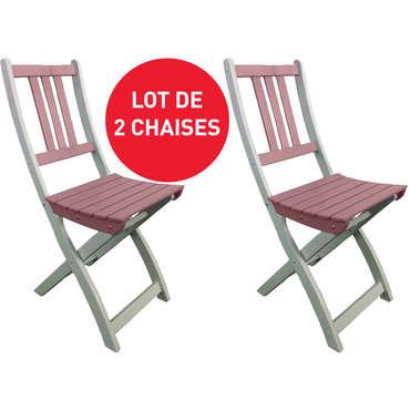 Lot de 2 chaises pliantes de jardin TRINIDAD coloris gris 1