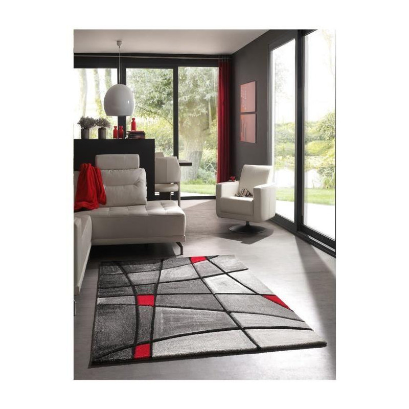 BRILLANCE Tapis de salon 160x230 cm rouge, noir et gris