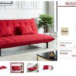 Canapé clic-clac AUGUSTIN tissu rouge passepoil noir pas cher - Canapé  Vente Unique