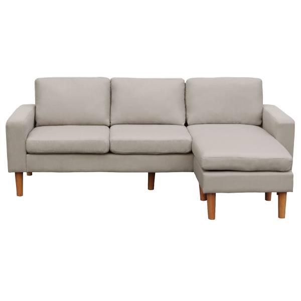 design de qualité 9deab 635ac Canapé d'angle réversible 3 places gris clair Ludwig