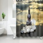 Tissu Polyester Bouddha assis en méditation Rideau de douche …