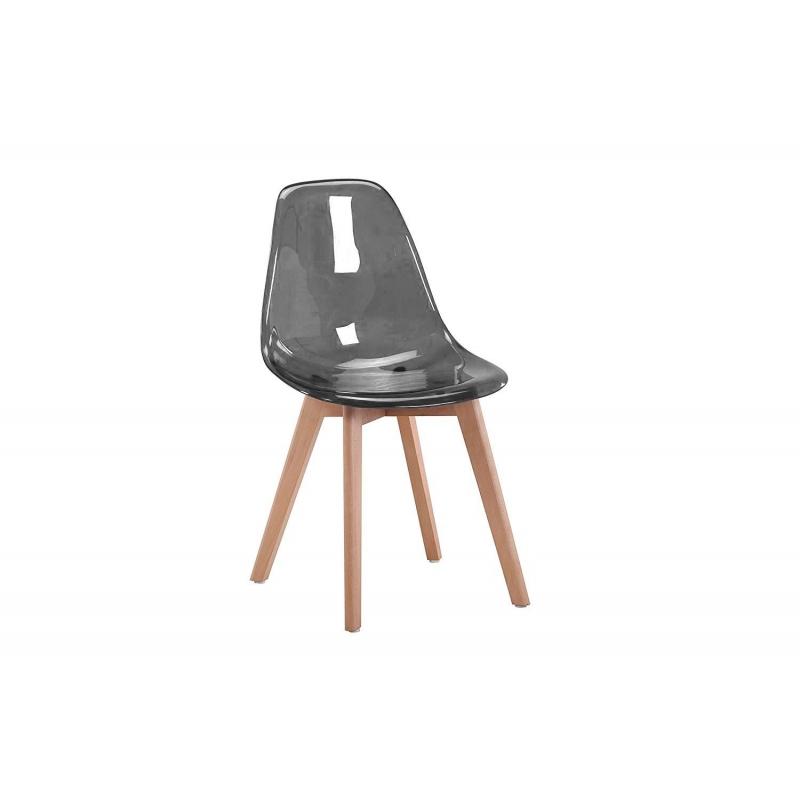 Chaise transparente Noire scandinave LIZA
