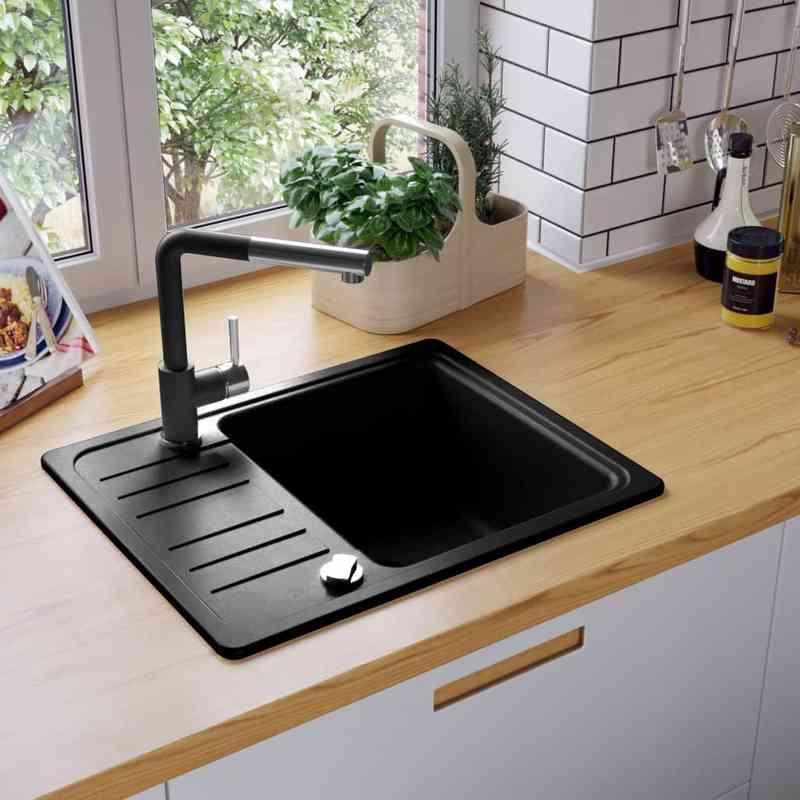 Evier De Cuisine En Granit Bac Unique Rond Noir Vidaxl Comparer