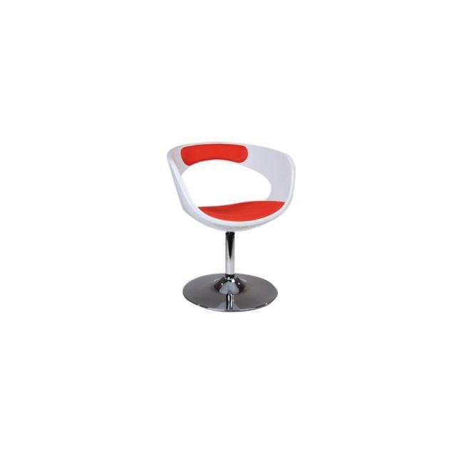 Miliboo fauteuil chaise design rétro blanc et rouge groovy
