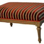 Pouf Louis XVI gris foncé Alexandria rouge