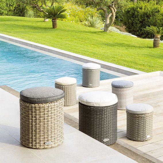 Pouf de jardin Rhodes - Gris anthracite - Salon de jardin ...
