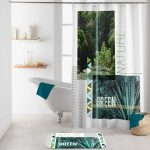 Rideau de douche (200 cm) Green nature Vert – Accessoire Douche …
