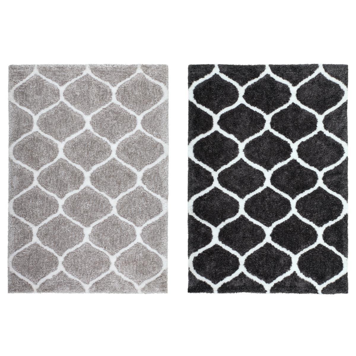 Tapis Long Poil Blanc poils longs longs longs shaggy tapis maroc motif poils longs
