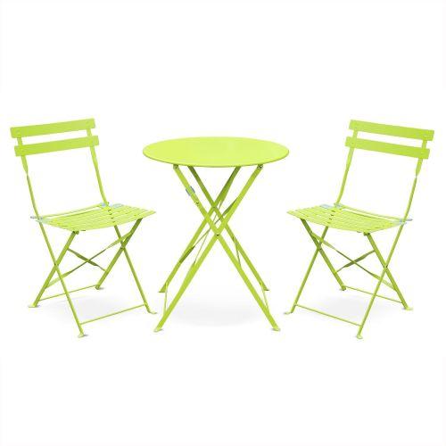 Salon de jardin bistrot pliable Emilia rond vert anis, table ...
