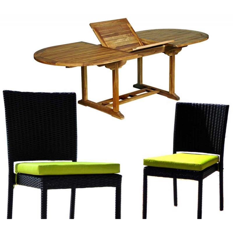 Salon de jardin en teck Java avec chaises en résine tressée ...