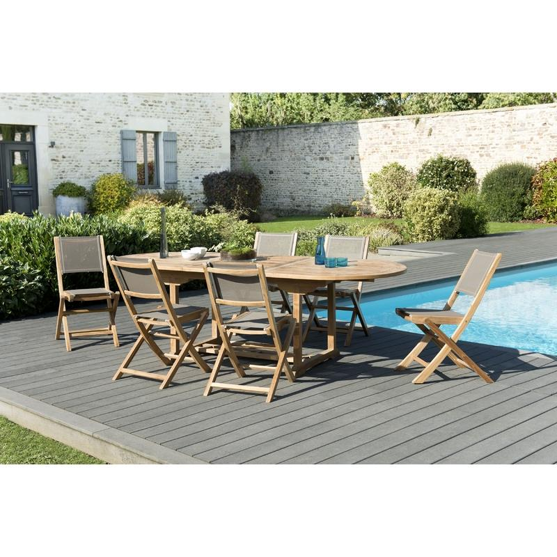 SALON DE JARDIN N°18 EN TECK COMPRENANT 1 TABLE RONDE PAPILLON / 4 ...