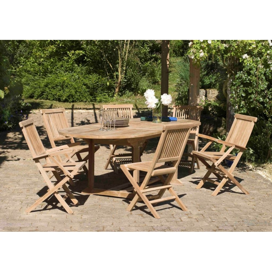 Salon de jardin n°3 en teck comprenant 1 table ovale / 4 ...